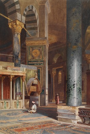 Carl Werner, Interior of the Dome of the Rock, Jerusalem, watercolour, 1863. Museum no. SD.1192