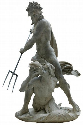 &#39;Neptune and Triton&#39;, marble and copper statue by Giovanni Lorenzo Bernini (15981680), Italy, about 16223. Museum no. A.18:1-1950