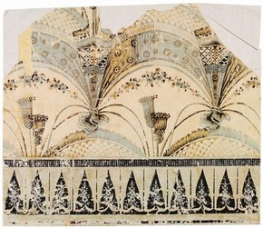 Fragment of wallpaper imitating festooned fringed drapery, about 1800. Museum no. E.1042-1925