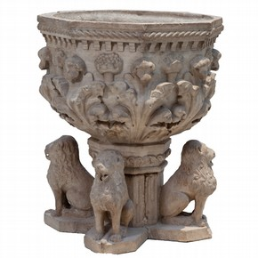 Carved stone octagonal fountain, Padua, Italy about 1450. Museum no. 378-1895