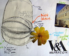 Student designs inspired by natural and architectural forms. Design Processes workshop, V&A, 2009