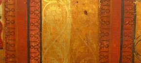 The Gonzaga-Montefeltro Chest, golden pattern, half cleaned