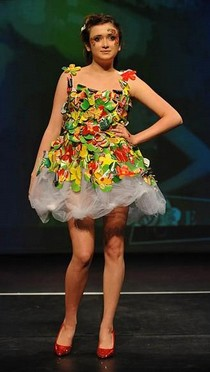 Crisp'N'Flowers. Emily, aged 14. Dorothy Stringer School. Second-hand skirt and top customised with crisp packets.