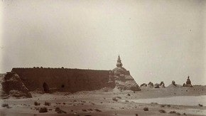 Stupas and breach, Khadalik, Sir Marc Aurel Stein, 1914. Photo 392/29(115), © The British Library Board
