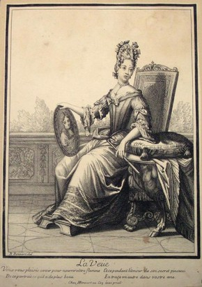Figure 3 - Engraving, La Veüe, Robert Bonnart, Paris, late 17th century. Museum no. E.21383-1957