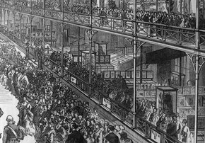 Figure 11 - Detail of engraving of the opening of the Bethnal Green Museum, showing gallery with the Animal Products Collection. Illustrated London News, 29 June 1872