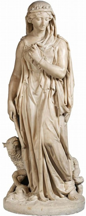 Figure 1 - 'Rachel, The Daughter of Laban with a Lamb at her Feet', John Thomas, marble. Museum no.257:1,2-1885