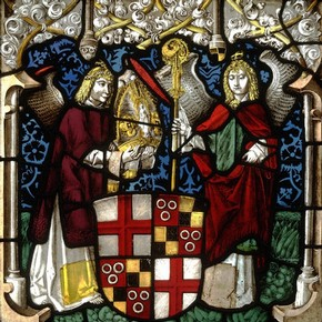 Arms of Hugo von Hohenlandenberg as Bishop of Constance, stained glass panel, Lukus Zeiner, about 1500. Museum no. C.39-1919