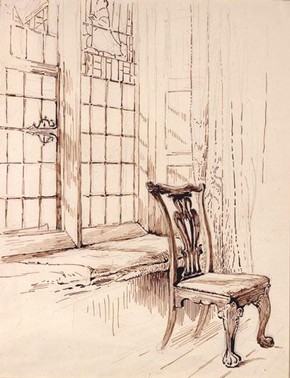 Beatrix Potter 'Sketch of a chair and window, Melford Hall' © Frederick Warne