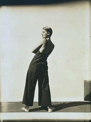George Hoyningen Huene, 'Lee Miller Wearing Yraide Sailcloth Overalls', 1930, gelatin silver print. Museum no. PH.102-1984