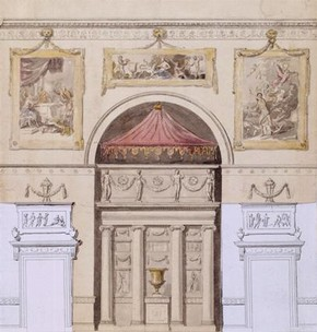 Kedleston Hall, design for the decoration of the end wall in a state room, James Stuart, 1757-8. Courtesy of Kedleston Hall, Derbyshire, The Scarsdale Collection (The National Trust), © NTPL / John Hammond