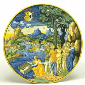 Plate (detail), about 1540-44. Museum no. 1693-1855