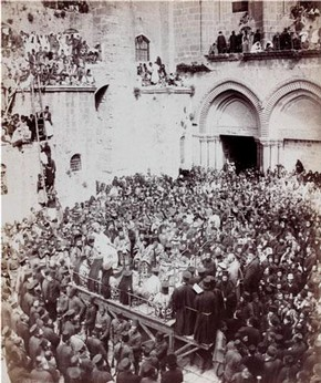 Greek Ceremony of Washing Feet outside the Court of the Holy Sepulchre, Jerusalem, photograph, 19th century