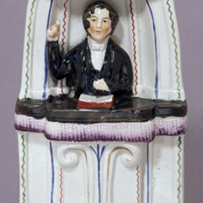 The Reverend Charles Haddon Spurgeon, earthenware figure, about 1855. Museum no. C.78-2001