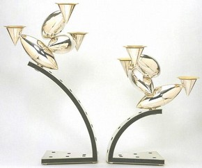 Pair of candelabra, designed and made by Chris Knight (b.1964), Sheffield, 1998. Museum no. M.21-22-1998