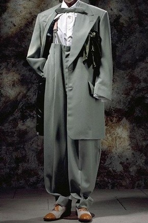Recreated zoot suit, Chris Ruocco Tailors, 1994. Museum numbers T.961-1994, T.864-1994, T.351-1984