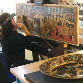 Figure 2. Treatment of the panels in the Paintings Conservation Studio (Photography by Rachel Turnbull)