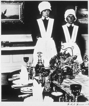 Parlourmaid and Under-parlourmaid Ready to Serve Dinner, Bill Brandt, 1938  Bill Brandt Archive Ltd.