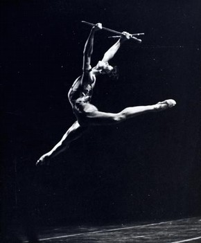 Production photograph for Barry Moreland's ballet 'Journey to Avalon', Royal Festival Hall, London, 1980
