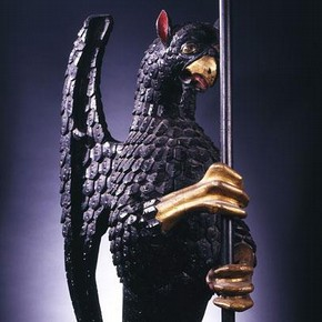 Carved, painted and gilded oak griffin, with tinned copper banner, 1507–25, Museum no. W.7-2000