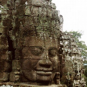 Face tower detail, Cambodia. Photograph by Oriental Art