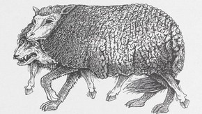 John Vernon Lord, 'The Wolf in Sheep's Clothing', illustrated from wood-engravings, from 'Aesop's Fables, retold in verse by James Mitchie', 1989. Published by Jonathan Cape, London. National Art Library Pressmark: 60.HH.46