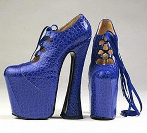 Pair of Mock Croc woman's 12 inch platform shoes, Vivienne Westwood, U.K., Autumn/Winter 1993-94. Museum no. T225:1.2.1993