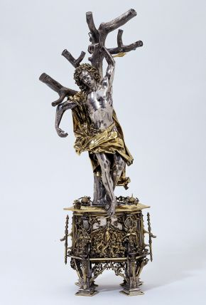 Reliquary figure of St. Sebastian, Germany (probably Augsburg), 1497, design attributed to Hans Holbein The Elder (c.1460 - 1524), silver. Museum no. M.27-2001, © Victoria and Albert Museum, London