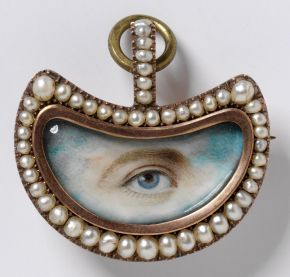 Lover's Eye brooch, England, 1800-20, gold, pearls, diamonds and painted miniature. Museum no. P.56-1977, © Victoria and Albert Museum, London