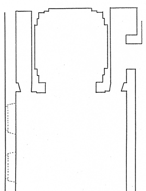 Figure 3 - Reconstruction of Santa Chiara. Image taken from Giuseppe Marchini, 'Aggiunte a Giuliano da Sangallo', Commentari 1 (1950): 57