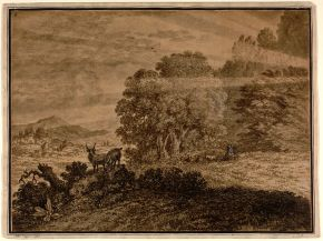 Drawing, Alexander Cozens (1717-1786), 1763, probably Italy, drawn with a pen in bistre and sepia, and slightly washed. Museum no. DYCE.669, © Victoria and Albert Museum, London