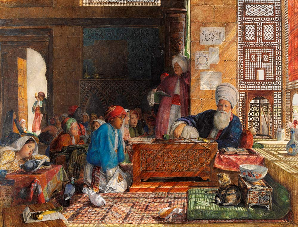 t'Interior of a School, Cairo', by John Frederick Lewis, watercolour. Museum no.68-1890, © Victoria and Albert Museum, London