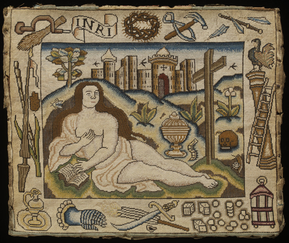 304c8dd981cf Mary Magdalene Surrounded by Instruments of the Passion, embroidered  picture, unknown maker, England, mid-17th century, silk and metal thread on  canvas.