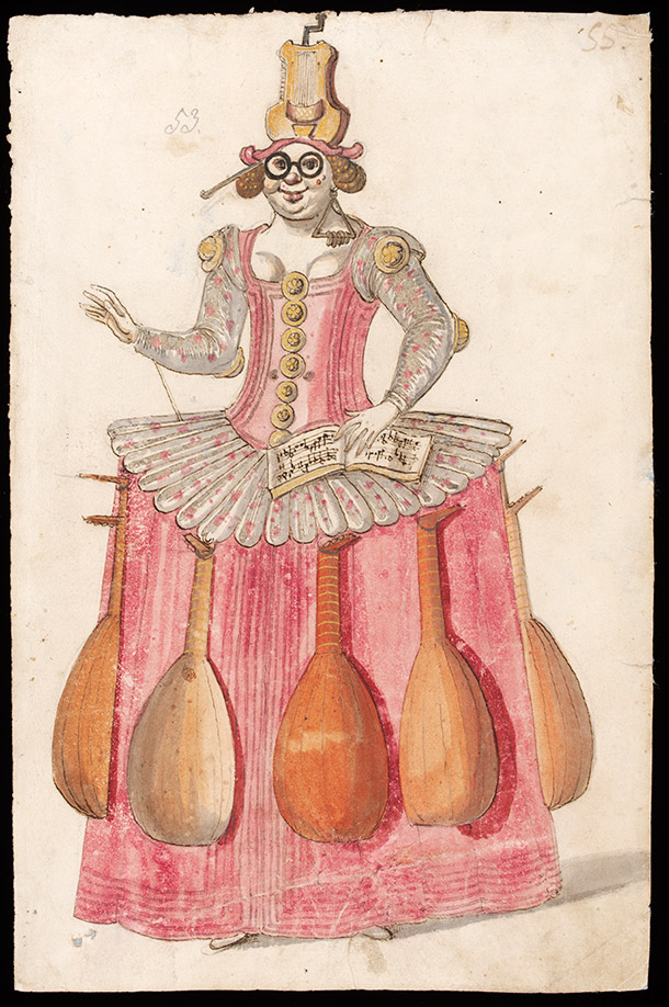 Costume design  for the Entry of Music, by the workshop of Daniel Rabel, about 1625,  France (Paris), watercolour, ink, pencil and gold paint. Museum no.  S.1163-1986, © Victoria and Albert Museum, London