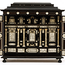 Table cabinet, probably by Iacopo Fiamengo, about 1600, Italy (Naples), softwood veneered with ebony, rosewood and ivory. Museum no. W.36-1981, © Victoria and Albert Museum, London