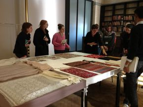 Asian Department curator Rosemary Crill leading an object-handling session at V&A's Clothworkers