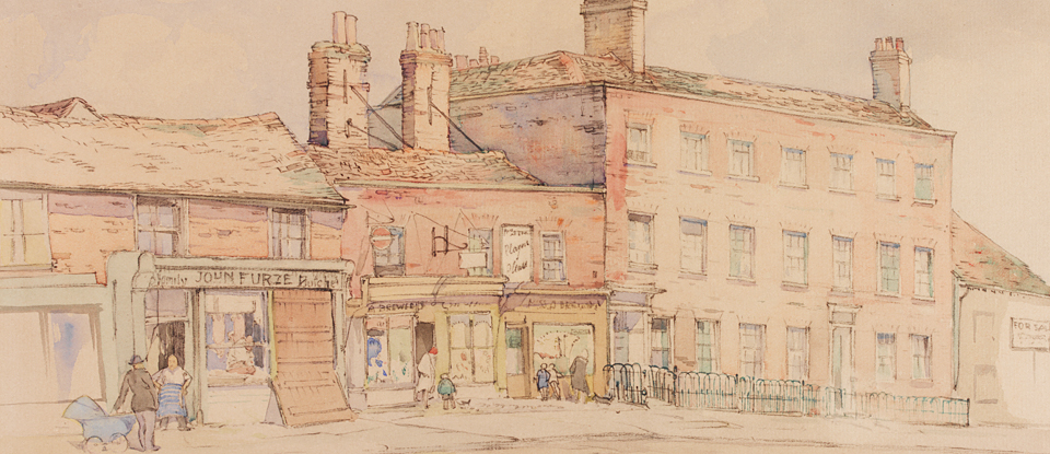 Detail from 'Epping High Street', William Palmer Robins, Museum no. E.1399-1949, Given by the Pilgrim Trust