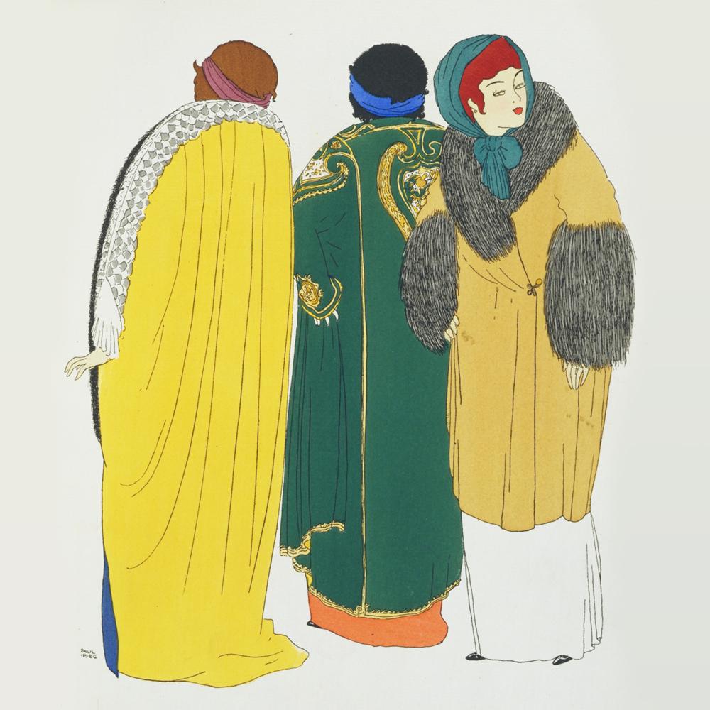 Plate 9 from  Les Robes de Paul Poiret, racontées par Paul Iribe  pochoir  colour print by Paul Iribe, published by Paul Poiret, 1908. Pressmark  211073 NAL 08c523201a6e