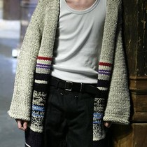 Knitted striped wool cardigan and black cotton trousers, Yohji Yamamoto, Autumn/Winter 2006-7.  Courtesy of Monica Feudi