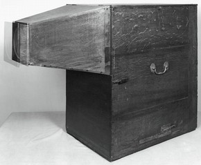 Black-and-white photograph of Gainsborough's 'showbox', England, 18th century. Museum no. P.44-1955 Presented by the NACF