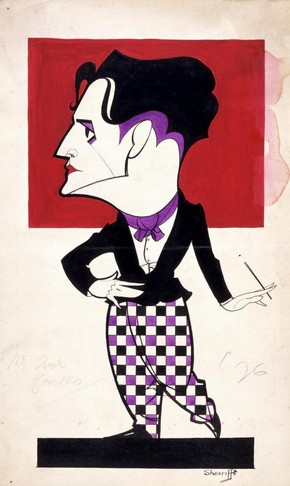 Artist unknown, caricature of Ivor Novello, 1926, indian ink and watercolour