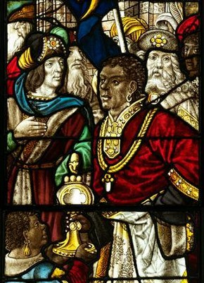 'The Adoration of the Magi', stained glass panels by the Master of the Holy Kindred, Germany, about 1500. Museum no. C.74 & 75-1919