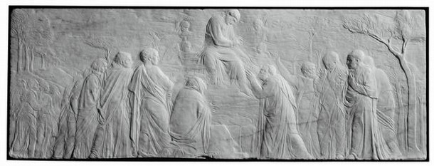 'The Ascension with Christ giving the Keys to St Peter', marble panel carved in low relief, by Donatello, 1428-30, Florence, Italy. Museum no. 7629-1861