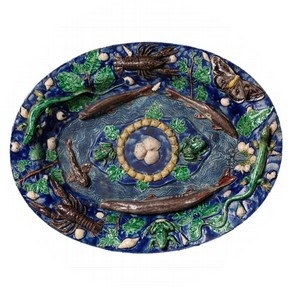 Dish, Bernard Palissy (about 1510-1590) or one of his followers, about 1580-1600. Museum no. 7169-1860