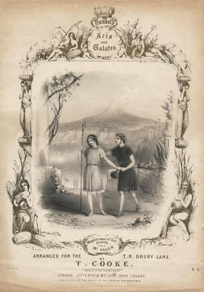 Acis and Galatea music sheet cover, printed by Jefferys and Nelson, Drury Lane Theatre, London, mid 19th to late 19th century