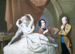 Antonio Canova in his studio with Henry Tresham and a plaster model for the 'Cupid and Psyche' by Hugh Douglas Hamilton, 1788-1791, Museum no. E.406-1998