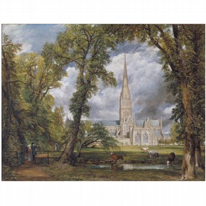 'Salisbury Cathedral from The Bishop`s Ground', oil painting by John Constable, England, UK, 1823. Museum no. FA.33
