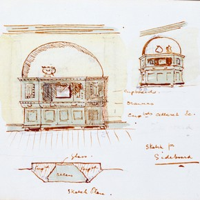 Sketch for a sideboard, Edwin Landseer Lutyens, 1891. Museum no. E.1:36-1991 (click image for larger version)