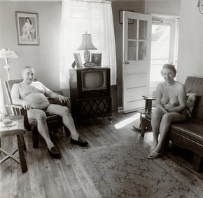 'Retired man and his wife at home in a nudist camp one morning, N.J. 1963', Daine Arbus, New Jersey, United States, gelatin silver print. Museum no. CIRC.308-1974