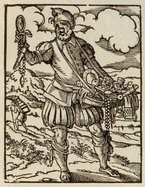 A Pedlar, woodcut from 'The Book of Trades', Frankfurt am Main, Germany, 1568. Museum no. 86.D.46